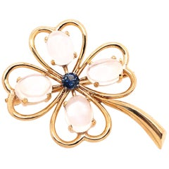 14 Karat Yellow Gold Four Leaf Clover Brooch
