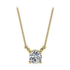 14 Karat Yellow Gold Four Prong Solitaire Diamond Pendant 'Center - 1/5 Carat'