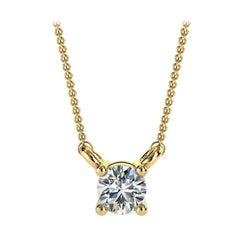 14 Karat Yellow Gold Four Prong Solitaire Diamond Pendant 'Center - 1/6 Carat'