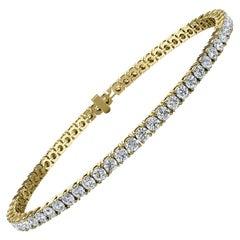 14 Karat Yellow Gold Four Prongs Diamond Tennis Bracelet '4 Carat'