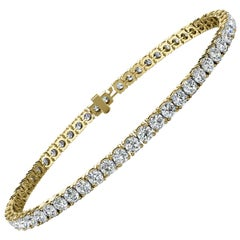 14 Karat Yellow Gold Four Prongs Diamond Tennis Bracelet '5 Carat'