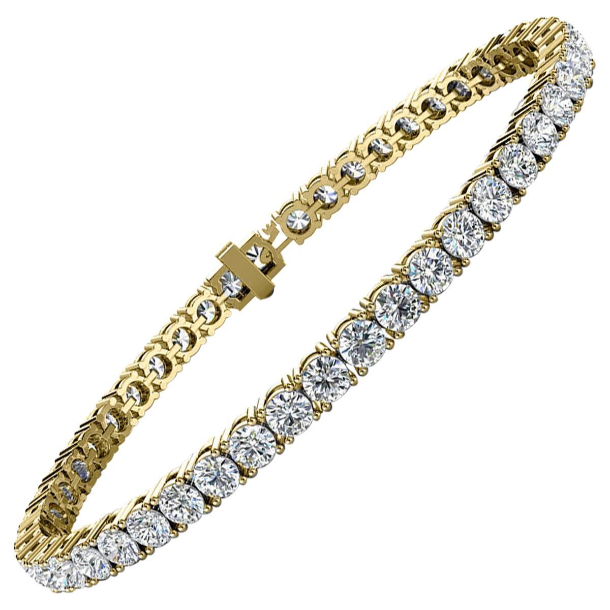 14 Karat Yellow Gold Four Prongs Diamond Tennis Bracelet '7 Carat'