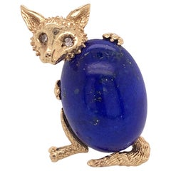 "14 Karat Yellow Gold ""Fox"" Fashion Brooch with Natural Oval Lapis Lazuli"
