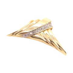 14 Karat Yellow Gold Free Form Charm / Pendant with Diamonds