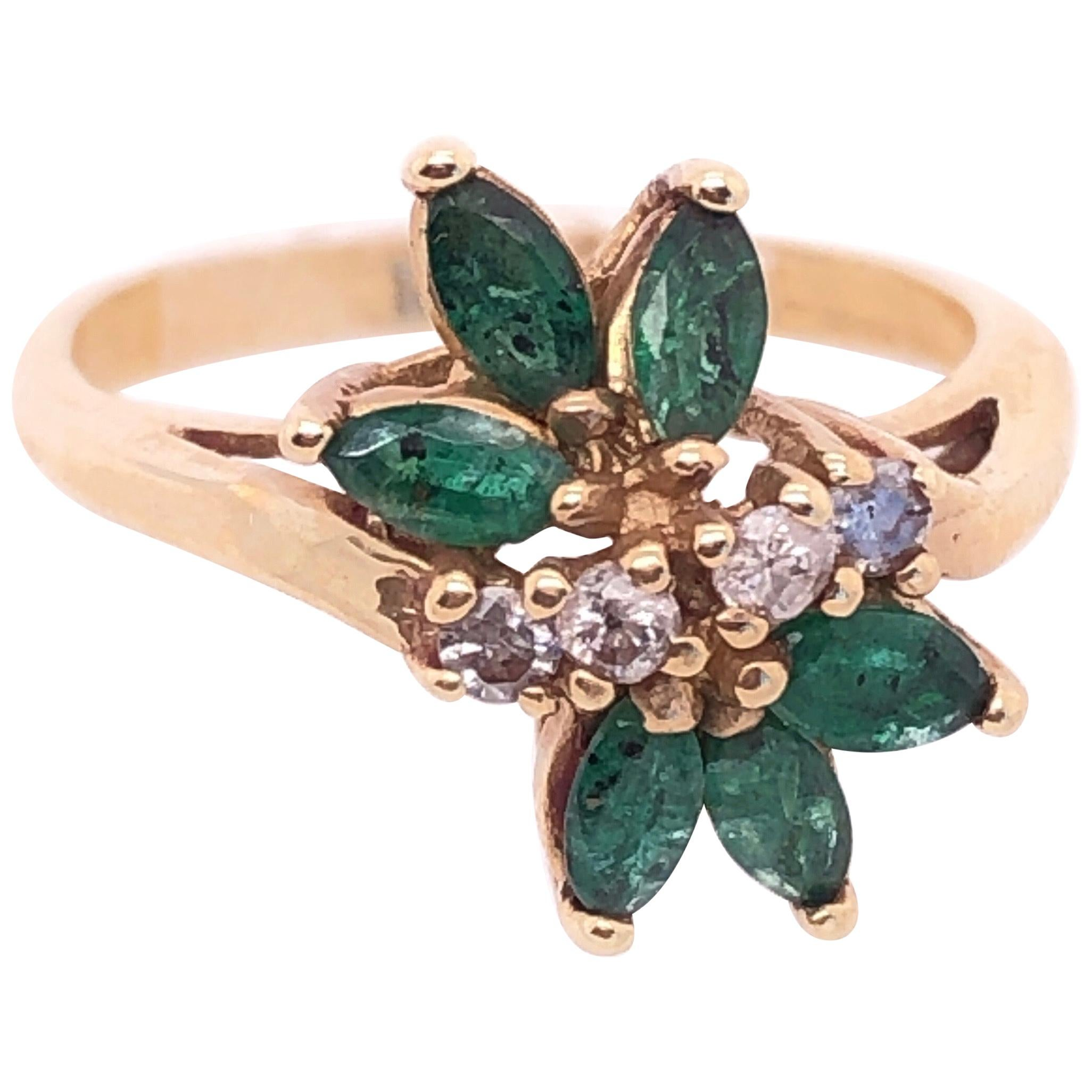14 Karat Yellow Gold Freeform Emerald with Diamond Accents Ring