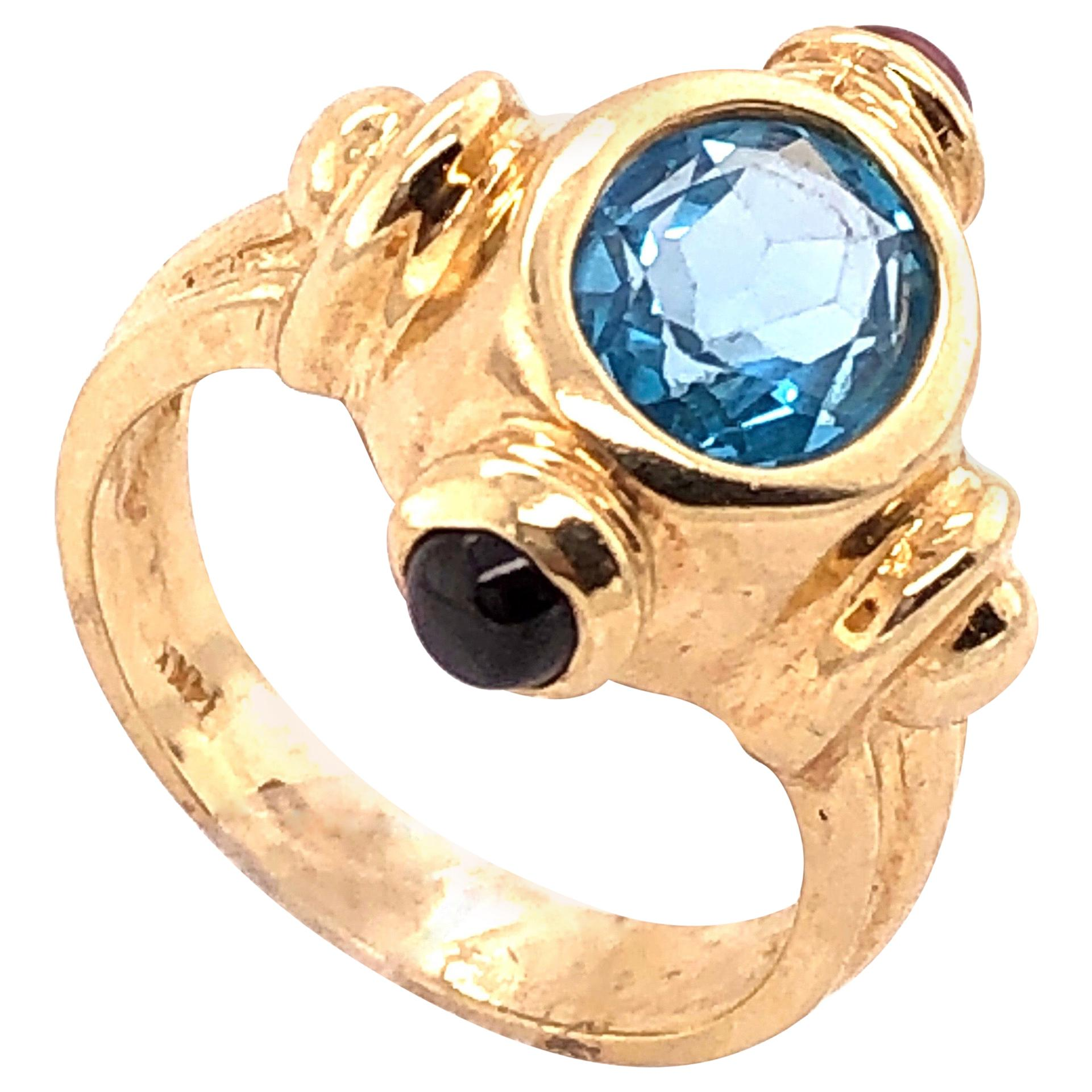 14 Karat Yellow Gold Free Form Ring with Stones