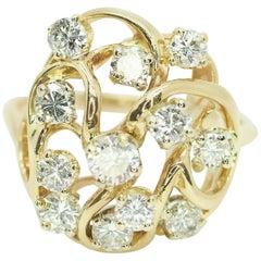 14 Karat Yellow Gold Freeform Diamond Ring 1.20 Carat