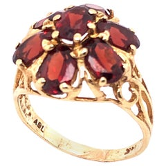 14 Karat Yellow Gold Freeform Garnet Flower Design Ring