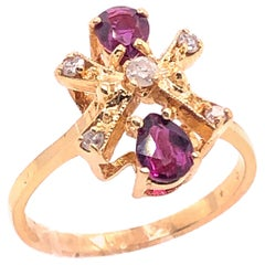 14 Karat Yellow Gold Freeform Ruby and Diamond Ring