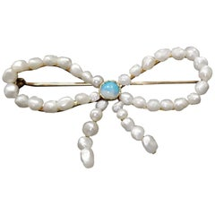 "14 Karat Yellow Gold Fresh Water Pearl and Opal ""Bow"" Pin"