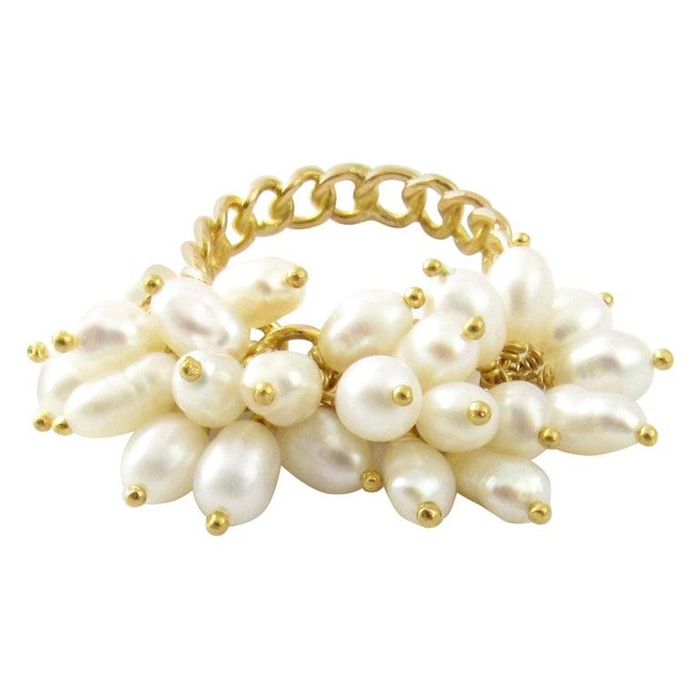 14 Karat Yellow Gold Freshwater Pearl Ring For Sale
