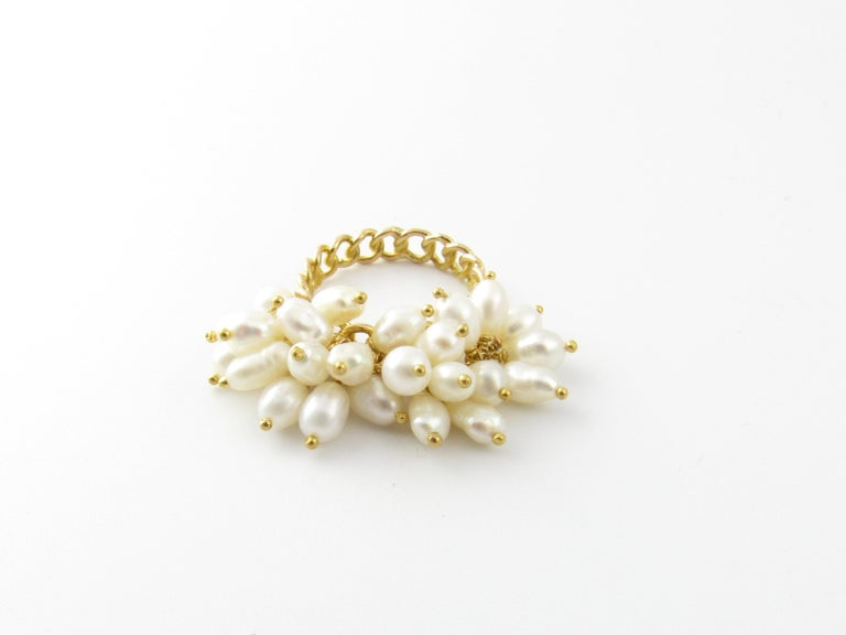 Round Cut 14 Karat Yellow Gold Freshwater Pearl Ring For Sale