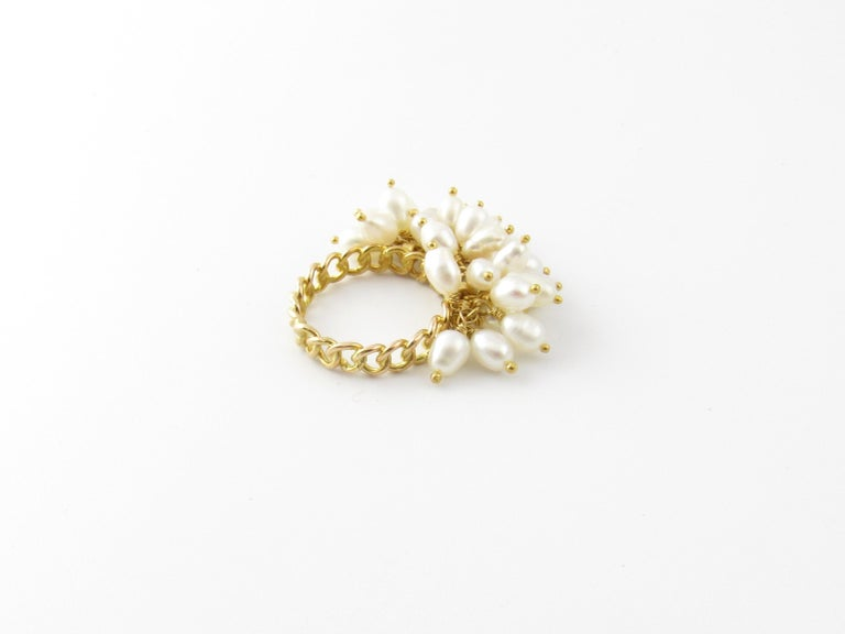 14 Karat Yellow Gold Freshwater Pearl Ring In Good Condition For Sale In New Milford, CT