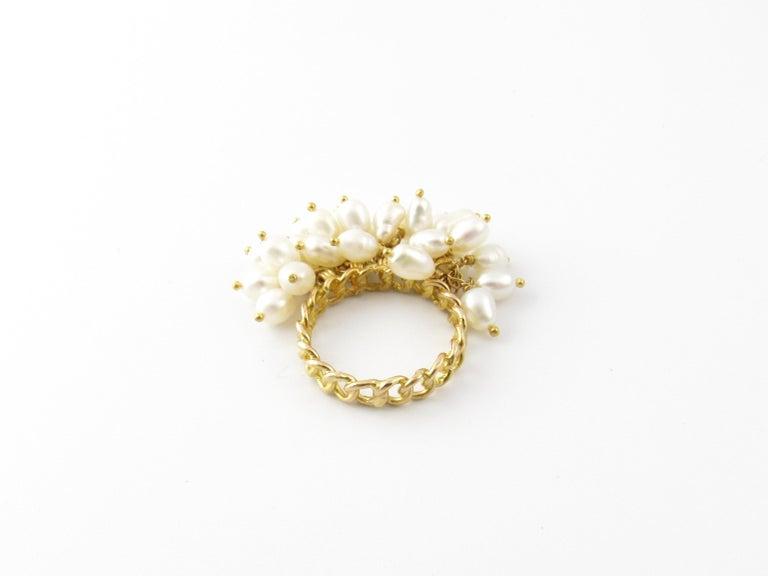 Women's 14 Karat Yellow Gold Freshwater Pearl Ring For Sale