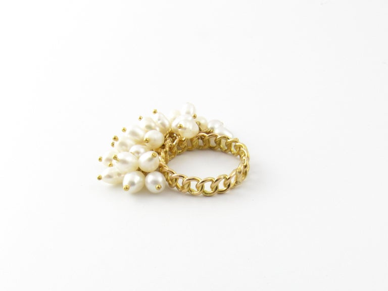 14 Karat Yellow Gold Freshwater Pearl Ring For Sale 1