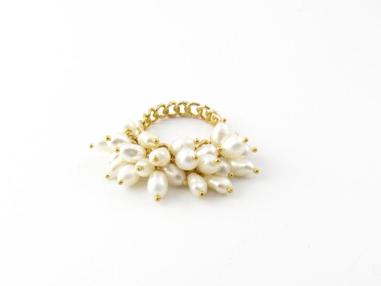 14 Karat Yellow Gold Freshwater Pearl Ring For Sale 2