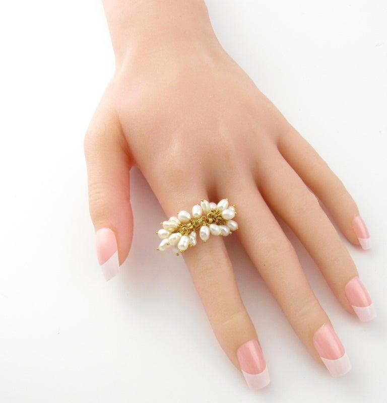 14 Karat Yellow Gold Freshwater Pearl Ring For Sale 3