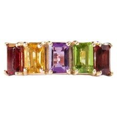 14 Karat Yellow Gold Garnet, Amethyst and Peridot Ring