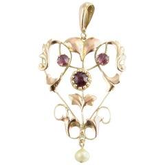 14 Karat Yellow Gold Garnet and Pearl Pendant