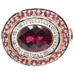14 Karat Yellow Gold Garnet, Diamond, and Pink Tourmaline Cocktail Ring