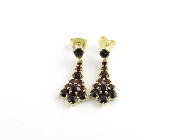 14 Karat Yellow Gold Garnet Earrings