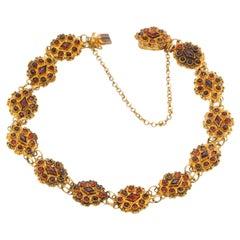14 Karat Yellow Gold Garnet Link Bracelet, Netherlands 1900