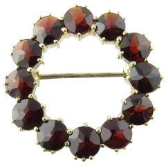 14 Karat Yellow Gold Garnet Pin / Brooch