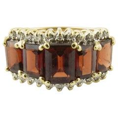 14 Karat Yellow Gold Garnet Ring