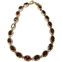 "14 Karat Yellow Gold Garnet ""Tennis"" Bracelet"