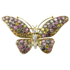 14 Karat Yellow Gold Gemstone Butterfly Pin or Brooch