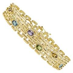 14 Karat Yellow Gold Gemstone Fashion Link Bracelet