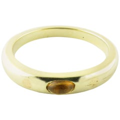 14 Karat Yellow Gold Genuine Cabochon Citrine Stackable Ring