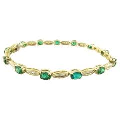 14 Karat Yellow Gold Genuine Emerald and Diamond Bracelet