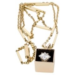 14 Karat Yellow Gold GIA Certified 0.71 Carat Diamond in a Box Necklace