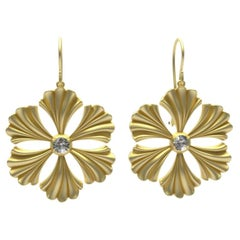 14 Karat Yellow Gold GIA Diamond Fan Flower Earrings