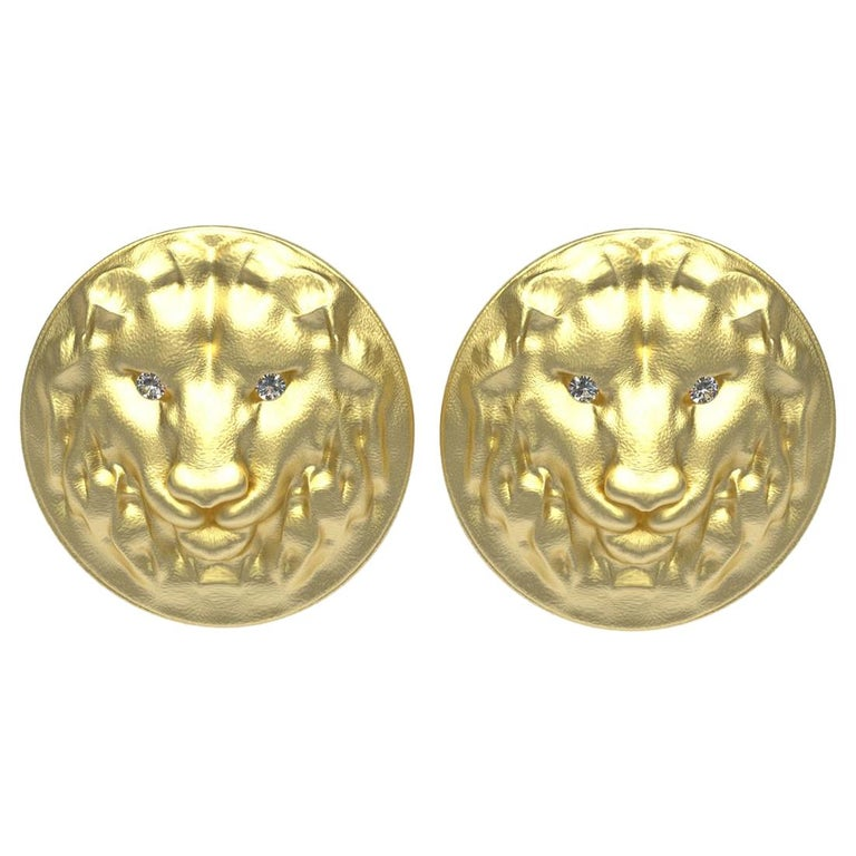 14 Karat Yellow Gold GIA Diamond Lion Cufflinks For Sale