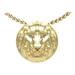 14 Karat Yellow Gold GIA Diamond Lion Pendant Necklace