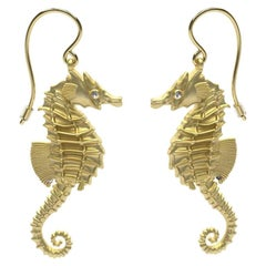 14 Karat Yellow Gold GIA Diamond Sea Horse Earrings