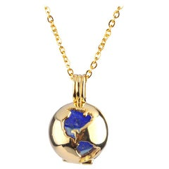 14 Karat Yellow Gold Globe and Round Lapis Lazuli Locket Pendant Necklace