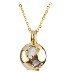 14 Karat Yellow Gold Globe and Round Moonstone Locket Pendant Necklace