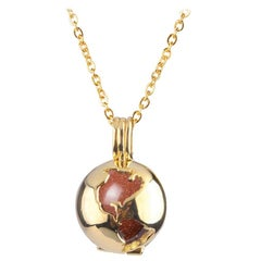 14 Karat Yellow Gold Globe and Round Sandstone Locket Pendant Necklace