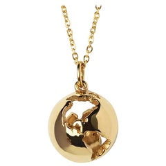 14 Karat Yellow Gold Globe Map Pendant Necklace with Diamond Customization