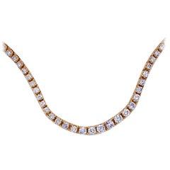 14 Karat Yellow Gold Graduated Diamond Tennis Necklace