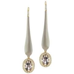 14 Karat Yellow Gold Gray Enamel Smokey Topaz and Diamond Drop Earring