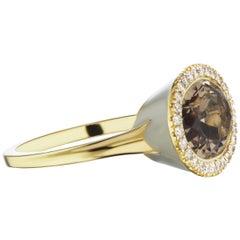 14 Karat Yellow Gold Gray Enamel Smokey Topaz and Diamond Halo Ring