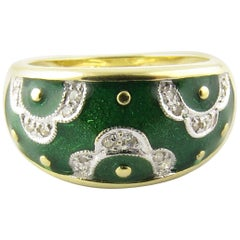 14 Karat Yellow Gold Green Enamel and Diamond Ring