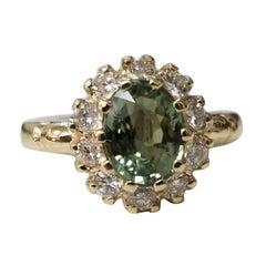 14 Karat Yellow Gold Green Sapphire Diamond Halo Ring
