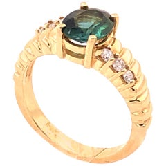 14 Karat Yellow Gold Green Topaz Solitaire Ring with Diamond Accents 0.30 TDW