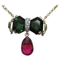 14 Karat Yellow Gold Green Tourmaline and Rubellite Tourmaline Diamond Necklace