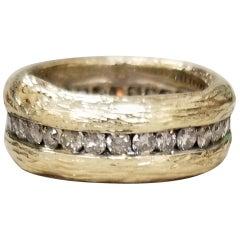 14 Karat Yellow Gold Gresha Signature Bark and Diamond Eternity Ring